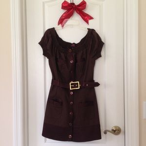 Sexy 2b Bebe brown button dress medium